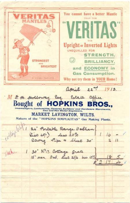 A Hopkins of Market Lavington bill of 1913