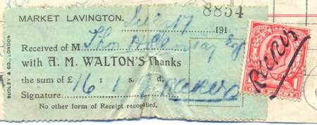 The signature acknowledging receipt of money is made over a stamp