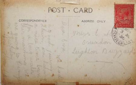 The back of the card posted in 1926