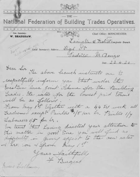 Letter from Fred Burgess of the National Federation of Building Trades Operatives