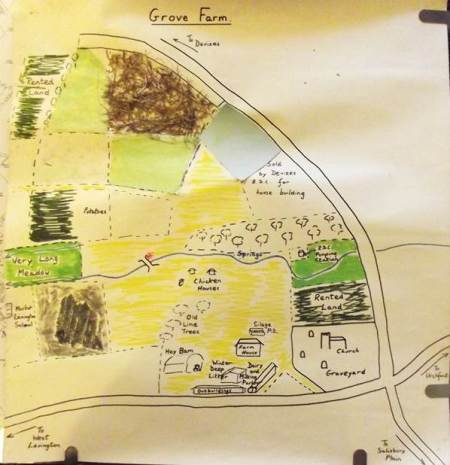 A plan of Grove Farm, Market Lavington in about 1970