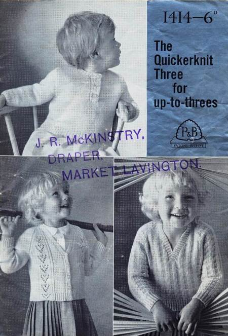 Knitting pattern sold at Mrs McKinstry's shop in Market Lavington