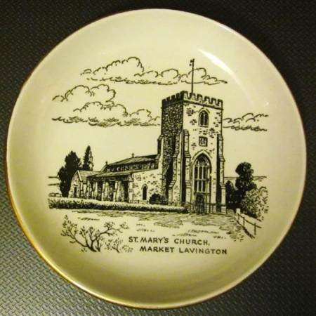 Commemorative dish showing St Mary's Church in Market Lavington