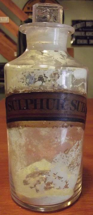Doctor Lush's sulphur bottle at Market Lavington Museum