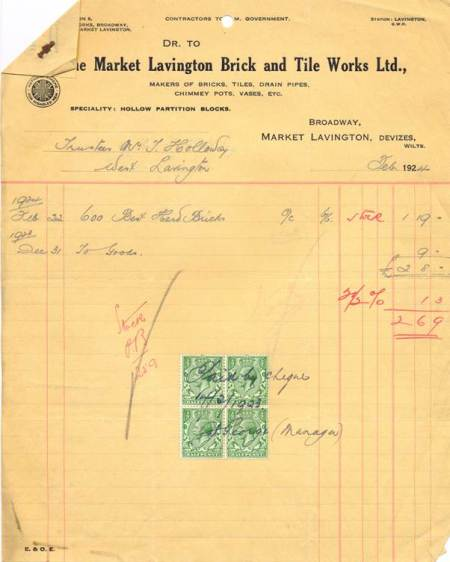 A bill for Market Lavington bricks in 1924