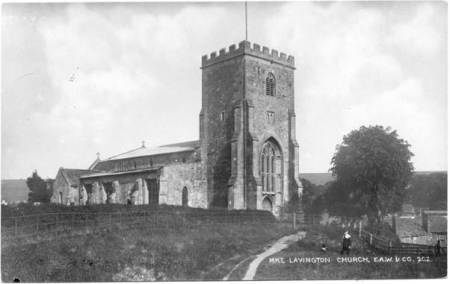 A postcard showing a very similar view of the church