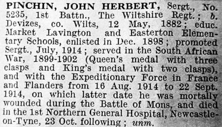 Newspaper report concerning Herbert's death which followed injuries at Mons in France