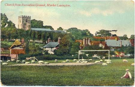 The Church from the Recreation Ground - possibly Edwardian