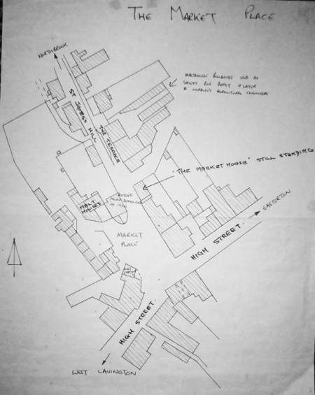 A plan of Market Lavington Market Place dated 1914