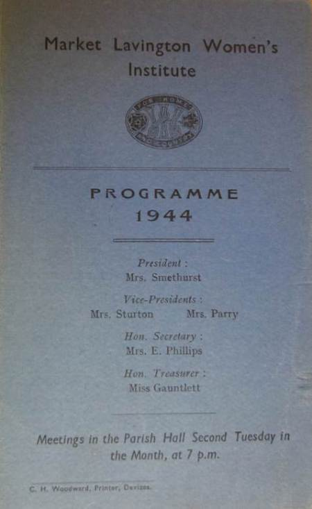 Market Lavington and Easterton WI programme for 1944