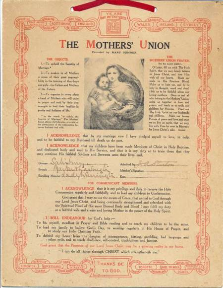 Lady Warrington joins the Mothers' Union