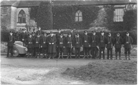 Market Lavington Fire Brigade posing outside beech House