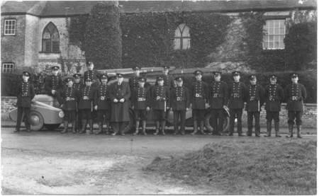 Market Lavington Fire Brigade posing outside beech House