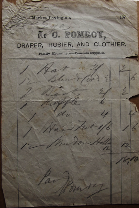 An 1870s bill from Charles Pomroy of Market Lavington