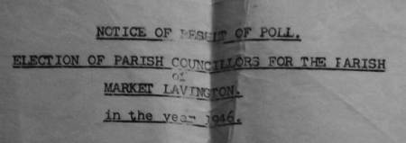 The results of the 1946 election for the Market Lavington Parish Council are announced