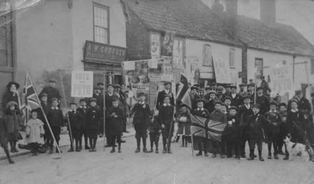 Election parade in support of the Conservative candidate - Market Lavington in 1910