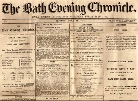 Masthead of Bath Evening Chronicle - 1877 style