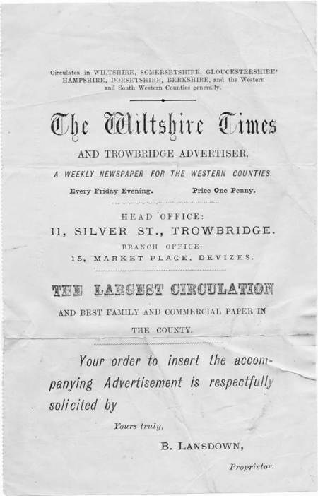 A Wiltshire Times flyer inviting people to advertise