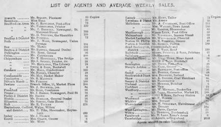 A list of Wiltshire agents for the newspaper