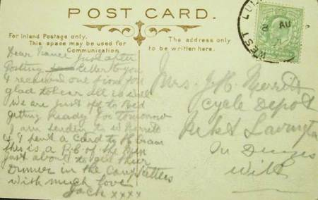 The message side - the card was sent to Mrs J H Merritt of the Cycle Depot in Market Lavington
