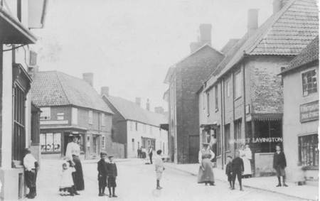 An early 20th century photo of High Street in Market Lavington