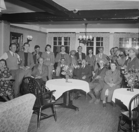 A crowd in the Green Dragon in the 1950s