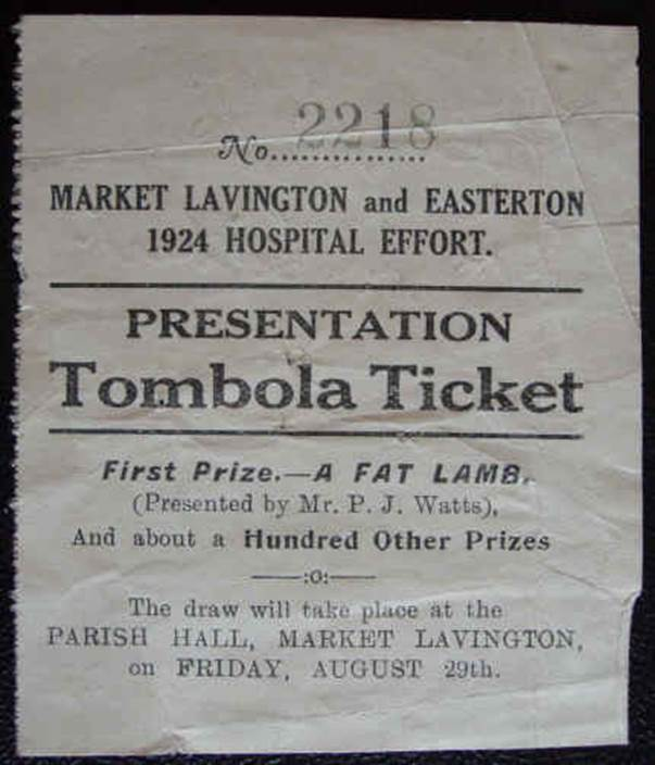 a tombola ticket market lavington museum