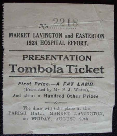 1924 Tombola ticket for Market Lavington and Easterton Hospital Effort