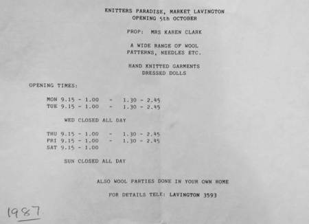 A new shop is announced in Market Lavington - 1987