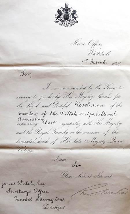 Letter received by Jamwes Welch of Market Lavington following the death of Queen Victoria