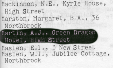 Highlighted entry in the 1966 local directory