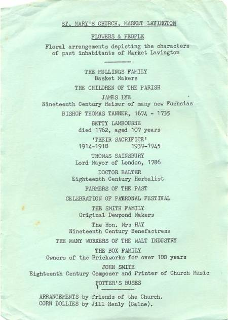 Flyer for historically related flower festival - possibly in the late 1970s or early 1980s