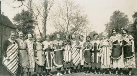Colourful ladies - in black and white. Believed to be in the 1920s