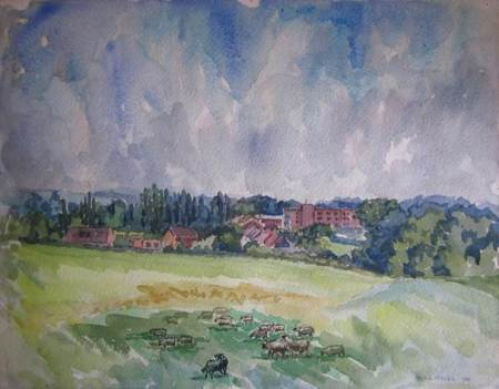 The Grove - a 1986 water colour by Norman Miller
