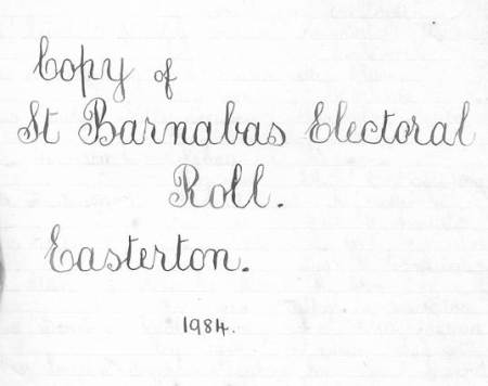 Miss Windo's list of the Easterton parochial electorate in 1984