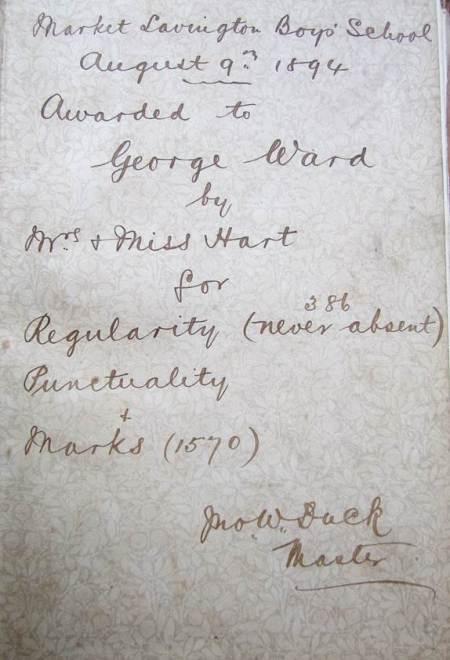 The inscription in the book