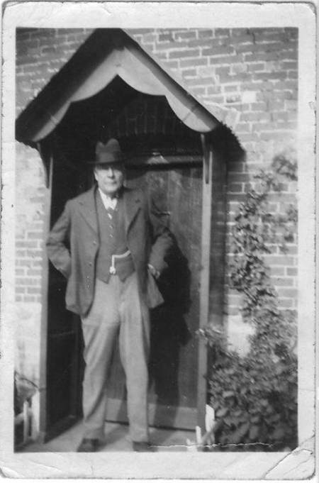 Albert Hiscock, a thatcher by trade, outside Hillside, his cottage on White Street, Market Lavington - probably in the late 1940s