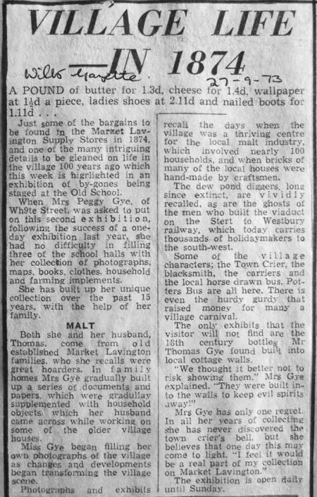 'Looking Back' - a 1973 exhibition staged by Peggy Gye in Market Lavington as reported in the local paper.