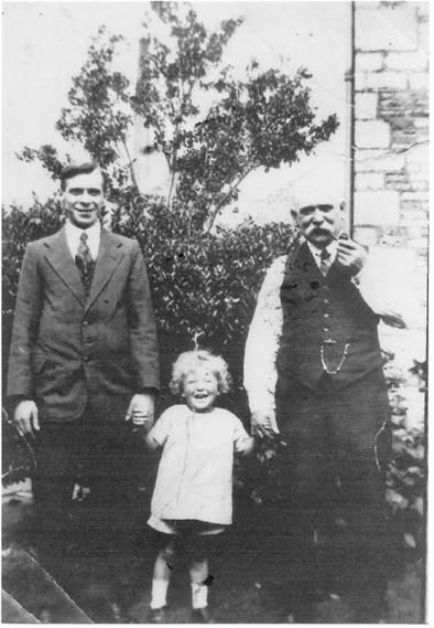 Thomas Merritt with son and grandson. Thomas's father was a Market Lavington Merritt.