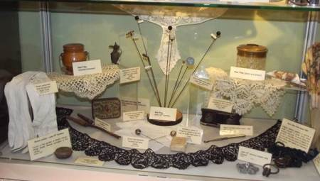 A new display of lady's items at Market Lavington Museum