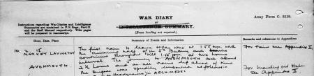 War diary for 10th February. The Canadians are off to the war. Click to enlarge.