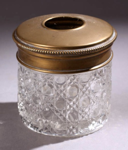 Edwardian glass and gold coloured jar