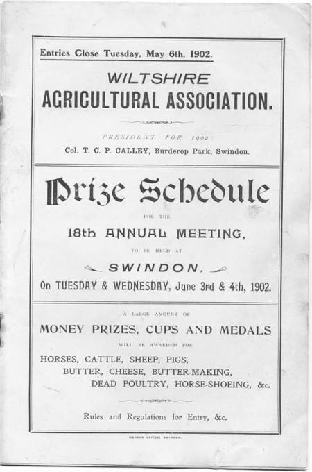 Wiltshire Agricultural Show schedule for 1902