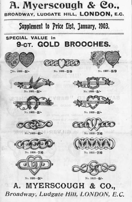 Jewelry prices in 1903 as found in James Welch's house in Market Lavington