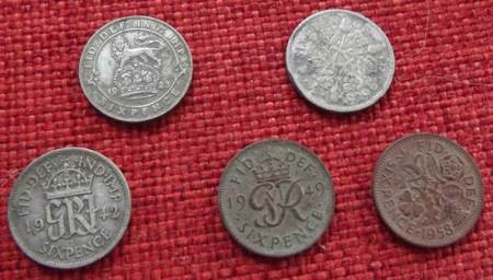 Some 6d coins found on the old recreation ground in Market Lavington