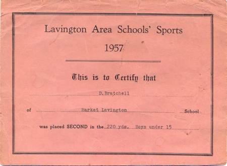 Certificat awarded at the 1957 Lavington Area Schools' Sports