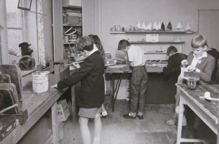 arts and crafts in the old school house in about 1963. This is now the kitchen in the museum.