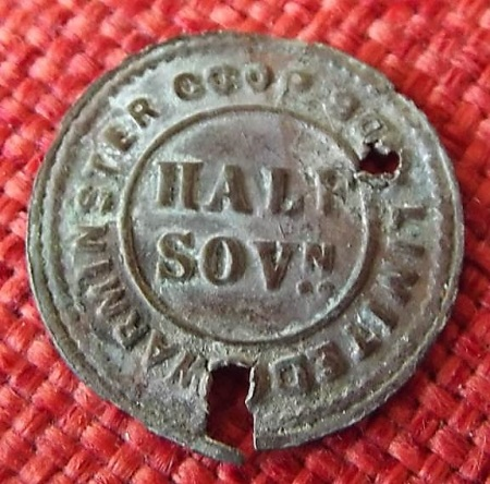 Warminster Coop half sovereign token - probably a dividend check token