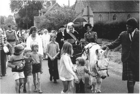 Piony, tap and people at the Easterton Centenary event in 1975