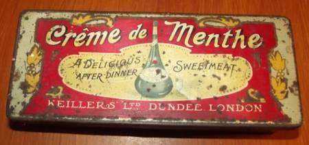 Crème de menthe tin at Market Lavington Museum